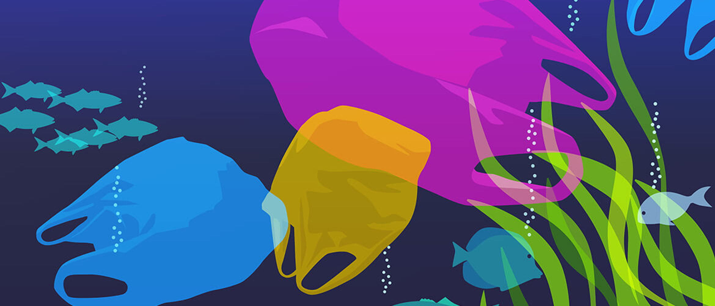 Bolsas de plástico de colores sobre fondo marino
