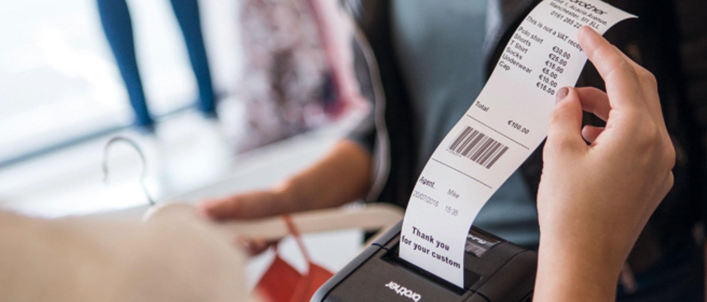 Ticket impreso desde impresora de etiquetas y tickets RJ-2 Brother