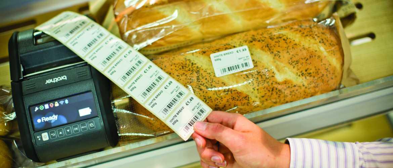Impresión de etiquetas adhesivas con codigo de barras en panadería