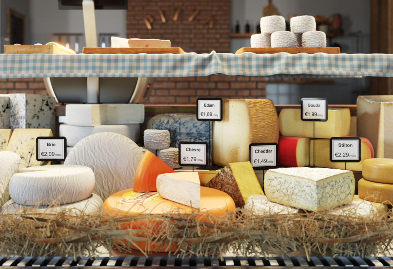 Expositor quesos con etiquetas de precios Brother