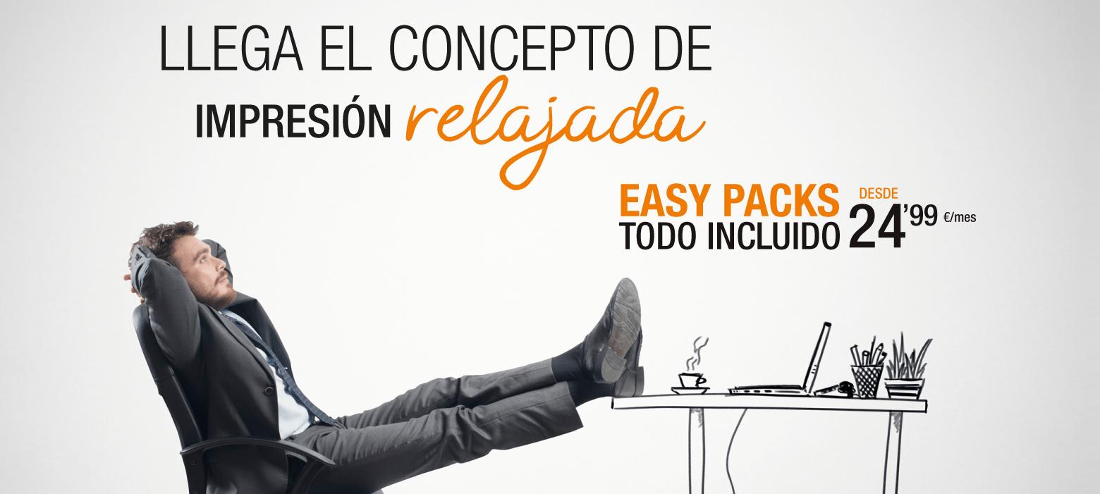 Llega el concepto de impresión relajada. Easy Packs todo incluido desde 24,99€/ mes