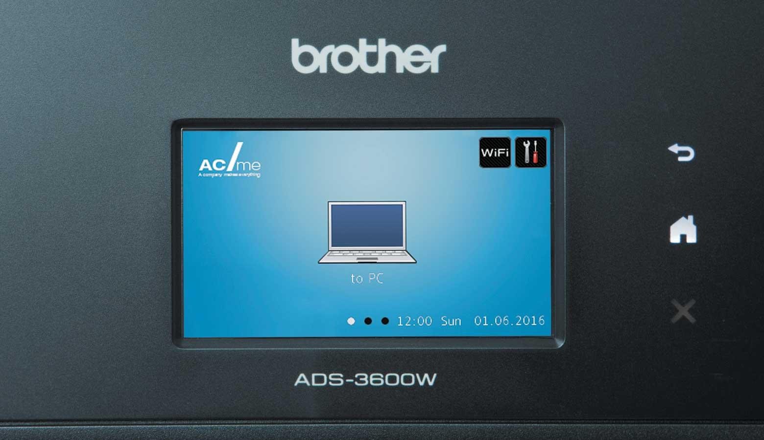 Pantalla táctil escáner ADS-3600W Brother