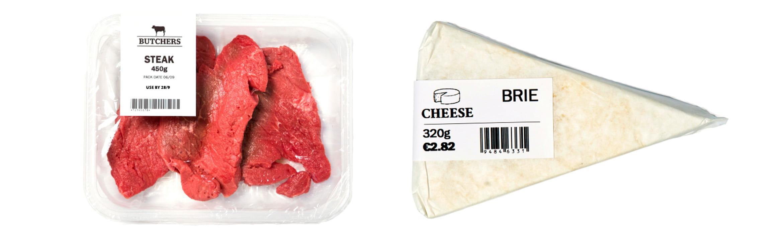 Etiquetas Brother en envasado carne y queso