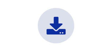 downloads blue icon over grey circle
